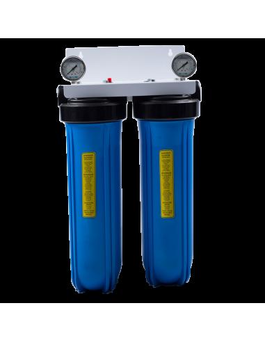 """Porte filtre BIG BLUE double 20"""" avec manomètres"""