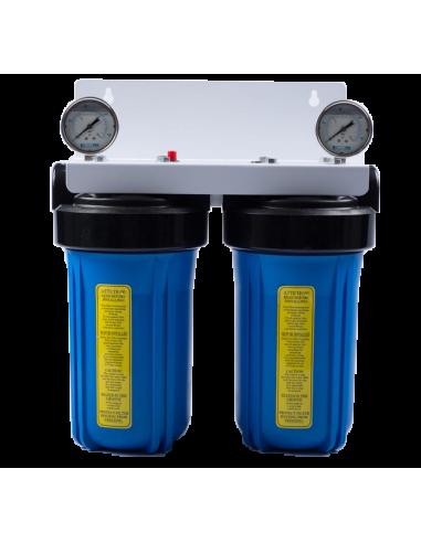 """Porte filtre BIG BLUE double 10"""" avec manomètres"""