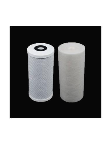 """Pack standard pour porte-filtre Bigblue double 10"""" : une cartouche Spun 1µ et une cartouche charbon-actif en bloc APC"""