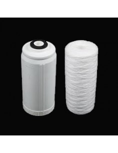"""Pack Plus pour porte-filtre Bigblue double 10"""" : une cartouche bobinée 1µ et un conteneur de  charbon-actif en granulés"""